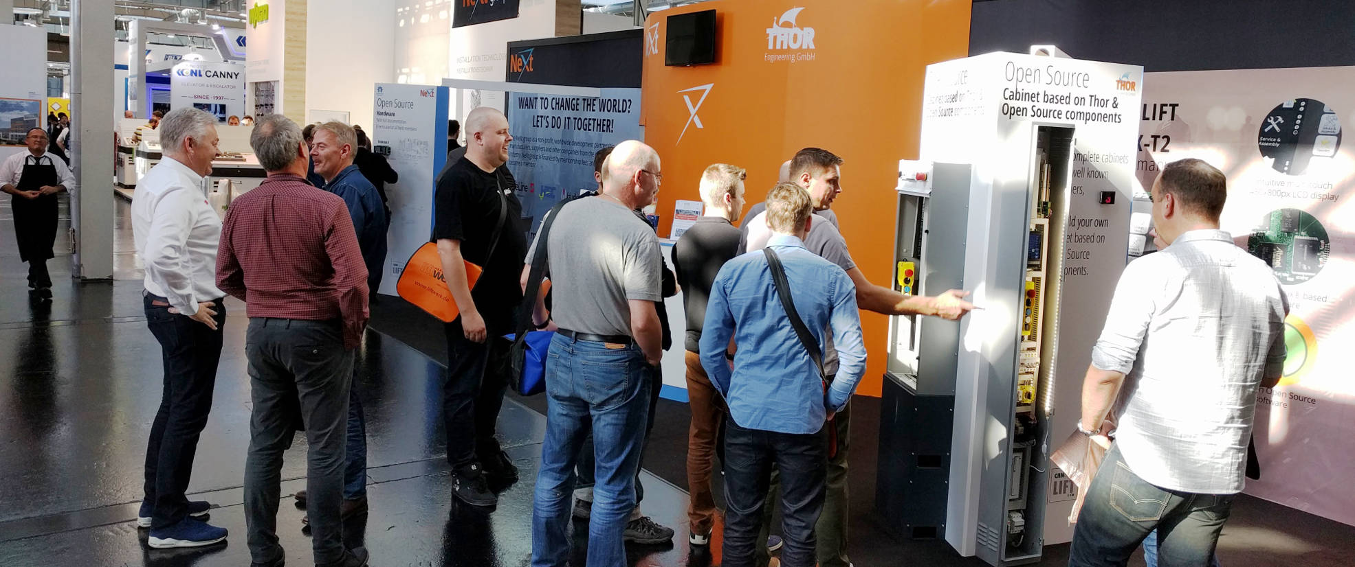 visitors at NeXt group stand - Interlift 2017